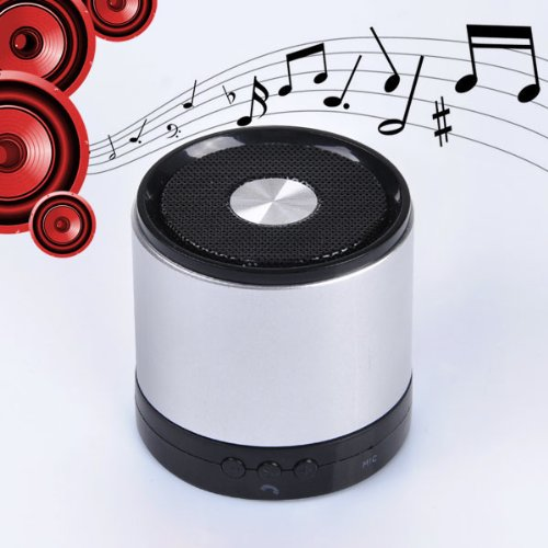 Mini Wireless Bluetooth Speaker Bullet With Built In Microphone High Quality Sound (Silver)