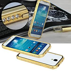 Samsung Galaxy S4/5, Bumper Case, Crystal Decorated Metal Removable Bumper Metal Protective Frame Case, Protective Metal Case, Crystal Frame Case, with Side Buttons, Perfectly Suit for Samsung S4/5 (S5 Champion Gold)