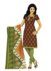 Araham Brown and Green Printed 100% Cotton Unstitched Salwar Suit Dress Material