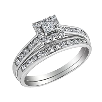 Princess Cut Halo Diamond Engagement Ring  Wedding Band Set 34 Carat ...