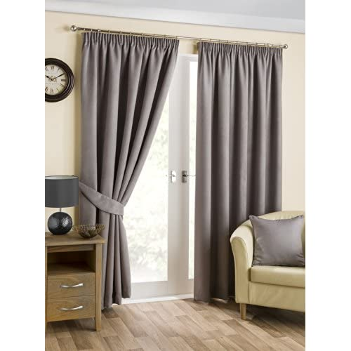 Hamilton McBride Belvedere Pewter Blackout Fully Lined Readymade Curtain Pair 90x72in(228x182cm) Approx