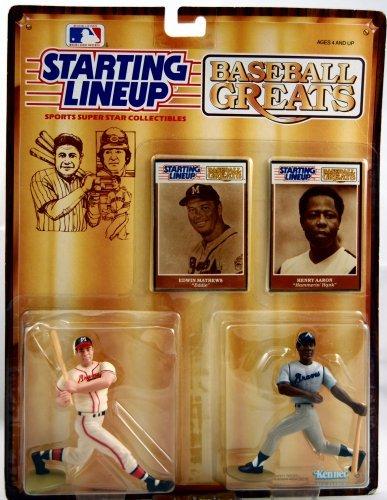 "Starting Lineup - Edwin ""Eddie"" Matthews & Henry ""Hank"" Aaron - Baseball Greats - 1989 Kenner Edition - MOC"