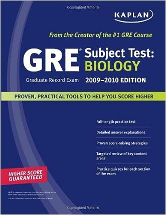 Kaplan GRE Exam Subject Test: Biology 2009-2010 Edition (Kaplan Gre Biology)