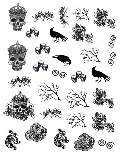 Bajidoo Skulls and Raven Decal Full Sheet