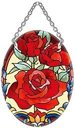 Joan Baker Design SO477R Rose Trio Art Glass Suncatcher, 4.5-Inch by 3.25-Inch