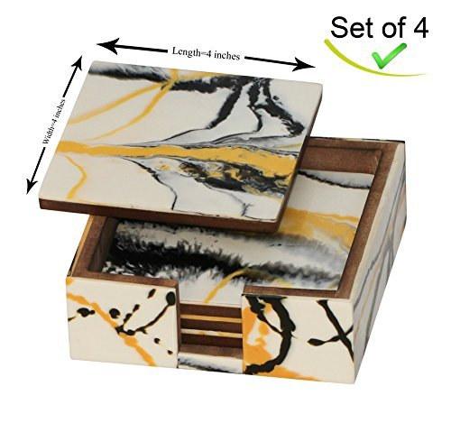 souvnear-45-inches-drink-coaster-set-of-4-with-holder-handmade-yellow-black-white-abstract-art-squar