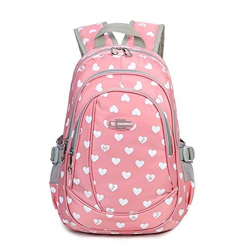 Heart Shaped Backpack for Junior Grade or Preschool Kindergarten School Girls (Pink)