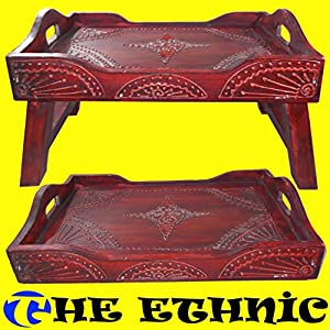 Vassoio tavolino in legno etnico porta da colazione letto con piedi tavolinetto   cliente recensione Voto