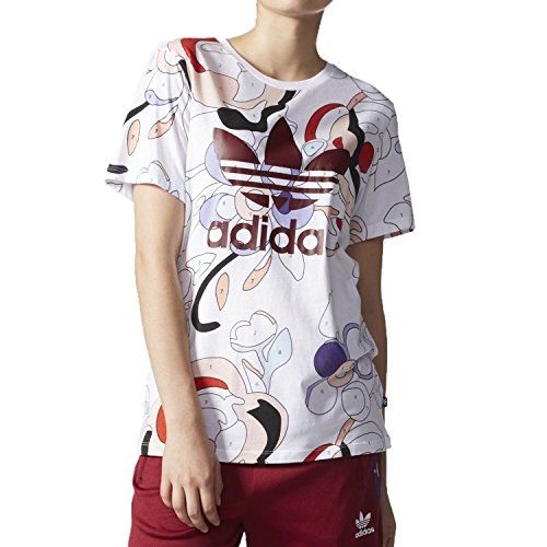 Adidas Women's T-Shirt White/Multicolor ay7134 (Size M)