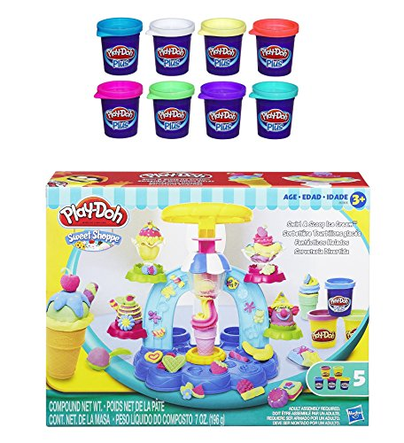 Play-Doh Sweet Shoppe Swirl and Scoop Ice Cream Playset + Play-Doh Plus Color Set, NET WT 8OZ, 8-Pack - Bundle (Play Doh Swirl Ice Cream compare prices)