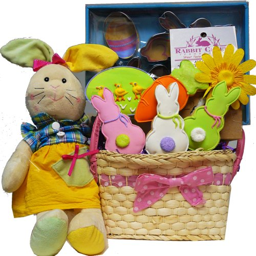 Art of Appreciation Gift Baskets Cottontails Cookie Collection Easter Gift Basket with Plush Bunny Rabbit