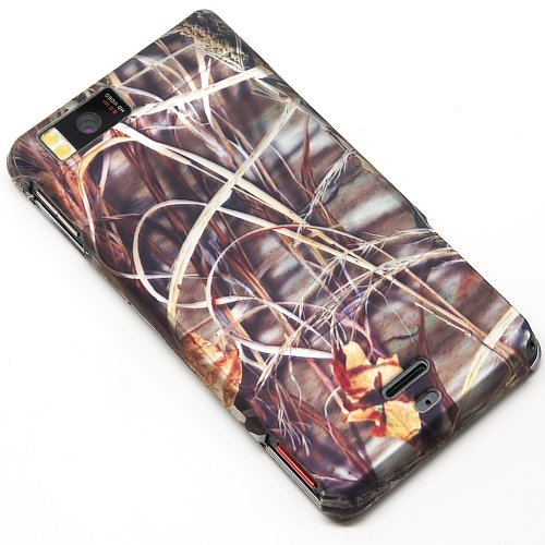4 items Combo ITUFFY LCD Screen Protector Film Mini Stylus Pen Case Opener Wildlife Outdoor Lake Pond Grass Camouflage Design Rubberized Snap on Hard Shell Cover Faceplate Skin Phone Case for Verizon Motorola Droid X MB810 Droid X2 MB870