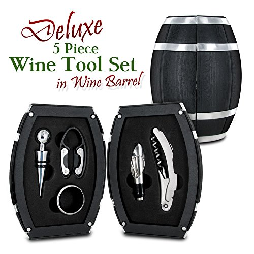 5 Piece Wine Tool Set in Wine Barrel