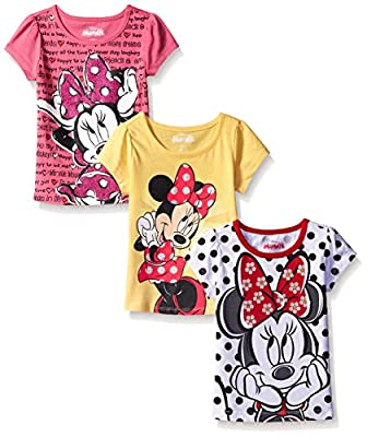 Disney Girls' 3 Pack Minnie Mouse Tees