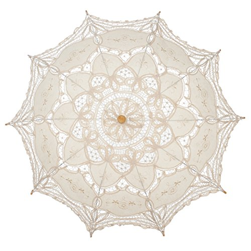 Remedios Ivory Bridal Wedding Cotton Lace Parasol Umbrella for Party Decoration 1