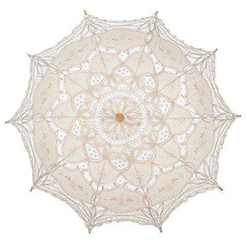 Remedios Ivory Bridal Wedding Cotton Lace Parasol Umbrella for Party Decoration 1