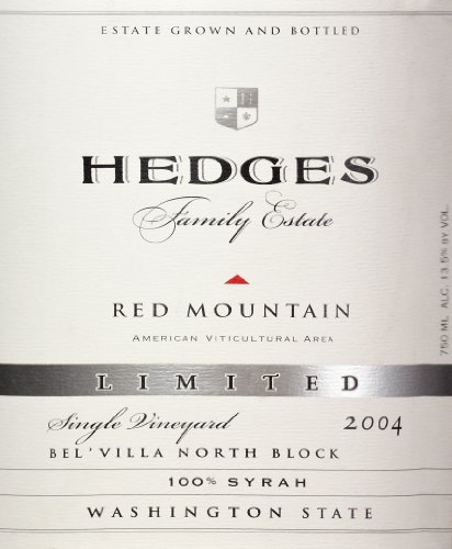 2004 Hedges Family Estate Single Vineyard Limited Syrah 750 Ml