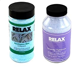 Eucalyptus Mint & Lavender Palmarosa Aromatherapy Crystals -17 & 22 Oz Bottles- Soak Aches, Pains & Stress Relief for Spa, Bath