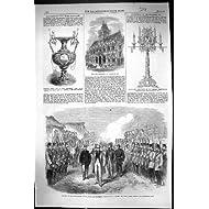 Impresión Antigua del Premio 1864 de Alcock Yokohama Japón Rampoor del Rutherford de Townhall Northampton