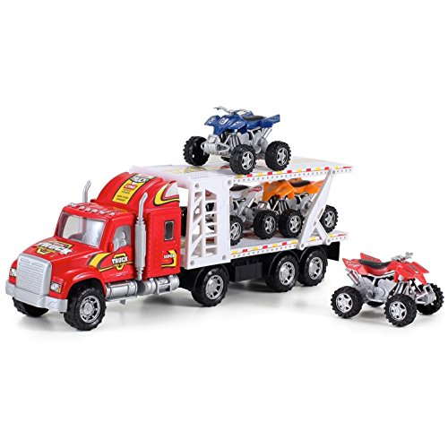 ATV Hauler Big Rig Toy Truck 1:48 Scale Auto Carrier Transporter (Assorted Colors) (Truck Trailer For Atv compare prices)