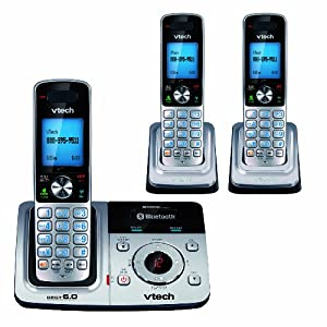 VTech DS6321-3 DECT 6.0 Cordless Phone, Silver/Black, 3 Handsets
