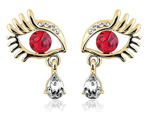 Luck Wang Woman's Fashion Personality Unique Eye LashesTemperament Diamond Earrings(Gold Red) (Quick Homemade Halloween Costumes)