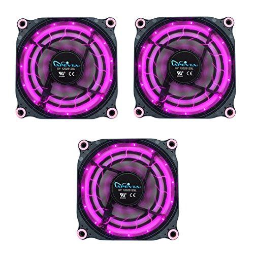 APEVIA 312L-DPP 120mm Silent Black Case Fan with 15 x Purple/Pink LEDs & 8 x Anti-Vibration Rubber Pads (3 Pk) - Best Value