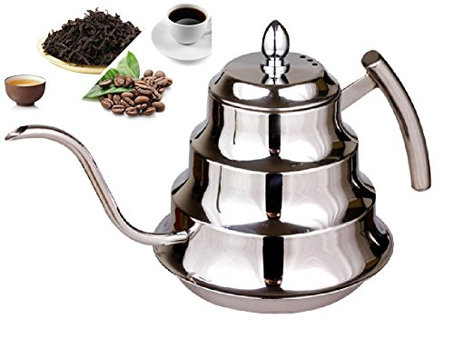 SPJ: Stylish Stainless Steel 1.2L Coffee Drip Kettle Tea Pot (Cone Tea Kettle compare prices)