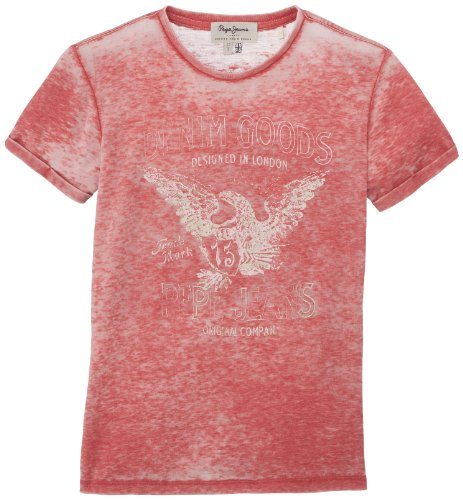 Pepe Jeans Jungen T-Shirt BRADY, Gr. 176 (Herstellergröße: L), Rot (WASHED RED 228)