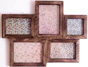 5 Picture Large Multi Wooden Photo frame Retro dark wood