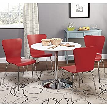 Simple Living White Chrome Metal Stand Single Pisa Dining Table White Contemporary