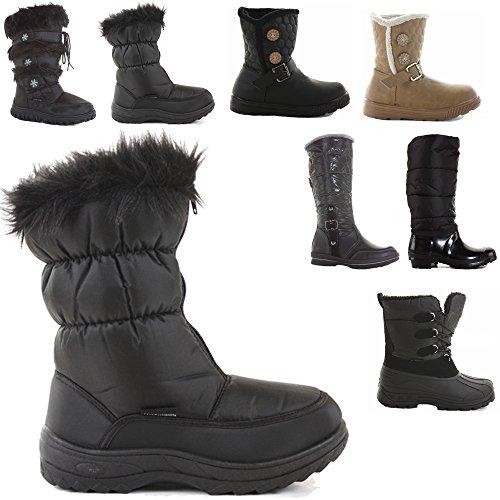 style-d-black-size-6-ladies-womens-flat-winter-snow-fur-waterproof-sole-knee-high-boots