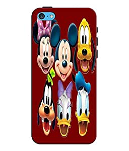 EU4IA Mickey N Friends Pattern MATTE FINISH 3D Back Cover Case For iPhone 5c - D083