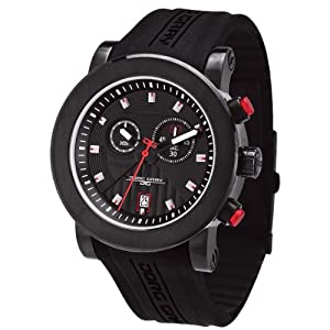 Men's Chronograph Black Dial Black Rubber
