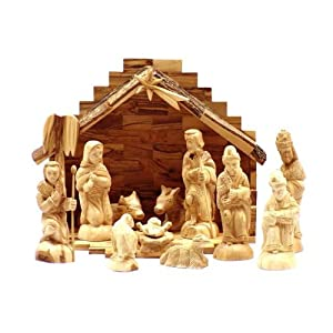 Click to buy Italian Christmas decorations : olive wood nativity set from Amazon!