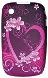 Presume de Movil - Funda de Gel para Blackberry 8520 / 9300 Violeta-Rosa Con Corazones Y Flores