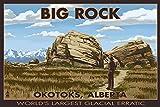 Big Rock - Okotoks, Alberta - World's Largest Glacial Erratic (16x24 Giclee Gallery Print, Wall Decor Travel Poster)