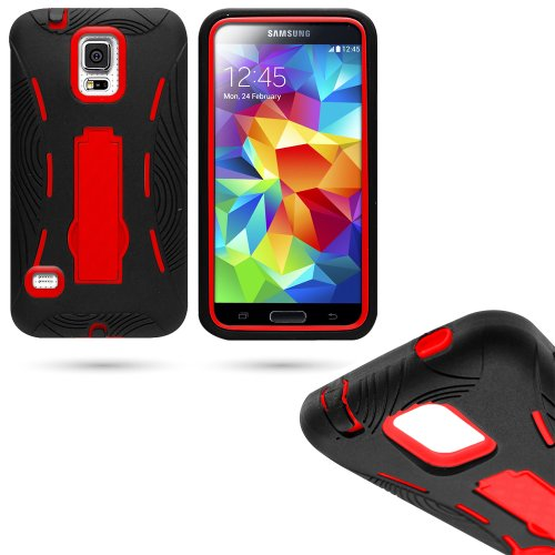 Mylife (Tm) Shocking Space Black And Electric Crimson Red - Shock Suit Survivor Series (Built In Kickstand + Easy Grip Silicone) 3 Piece + 2 Layer Case For New Galaxy S5 (5G) Smartphone By Samsung (External Flex Silicone Bumper Gel + Internal 2 Piece Rubb