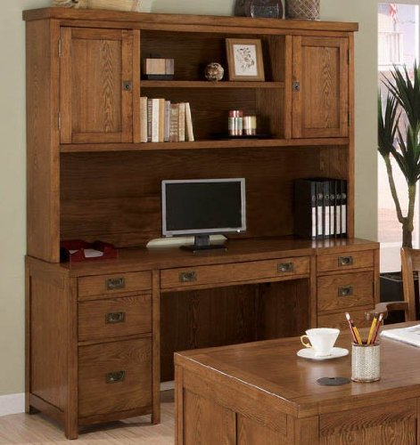 Buy Low Price Comfortable Computer Desk with Hutch Sleek Lines in Oak Finish (B003TPKCV0)