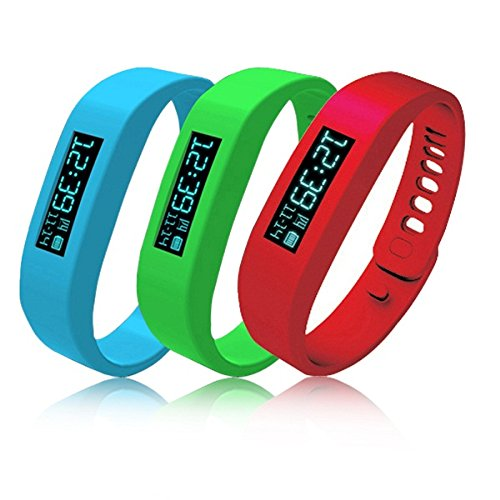 3A27JC Pebbel Fashion Candy Color Bluetooth 4.0 Fitness Smart Sport Watch Pedometers Wrist Watch Y3-Red-Blue