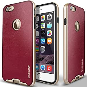 """iPhone 6 Case, Caseology [Bumper Frame] Apple iPhone 6 (4.7"""" inch) Case [Leather Burgundy Wine] Slim Fit Skin Cover [Shock Absorbent] TPU Bumper iPhone 6 Case [Made in Korea] (for Apple iPhone 6 Verizon, AT&T Sprint, T-mobile, Unlocked)"""
