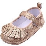 EOZY Zapatos Para Beb� Ni�as Cuero Brillante Primero Paso Andar Con Borlas Marr�n Oto�o Pirmavera Longitud 12cm