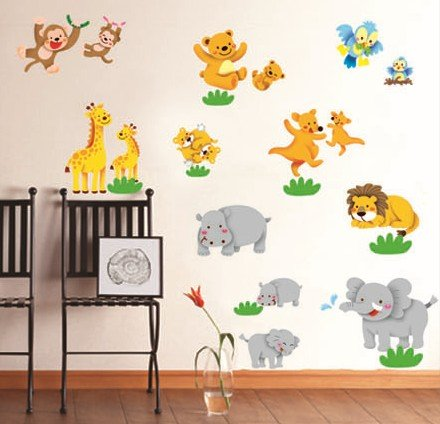 Woodland Animals Family Wall Decor Sticker Boys Kid'S Bedroom Wall Art Decal Removable Lion/Giraffe/Monkey/Bear/Kangaroo/Hippo/Elephant front-332524