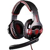 Sades SA-903 Auriculares de diadema con micrófono para videojuegos, sistema de sonido 7.1 Surround, controles en el cable, conexión vía USB, cable de 3 m, Negro y rojo