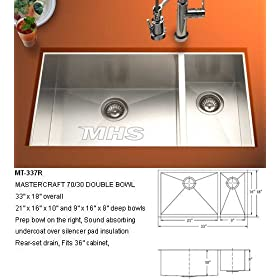 "New 33"" Undermount Stainless Steel Kitchen Double Sink"