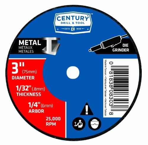 Century 8403 Metal Abrasive Cutting and Grinding Wheel, 3-Inch by 1/32-Inch