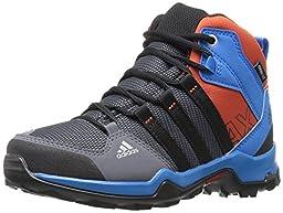 adidas Outdoor Boys\' AX2 Mid Climaproof Hiking Boot, Onix/Black/Shock Blue, 2.5 M US Little Kid