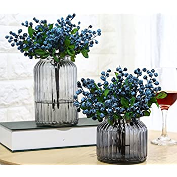 Mistari 10 Pcs Plastic Artificial Flowers California Berries Blueberry Fruit Fake Silk Flowers Home Decorative Party Wedding (Blue)