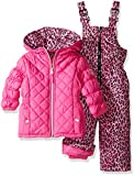 Pink Platinum Girls Infant Quilted Snowsuit with Cheetah Print, Pink, 24 Months