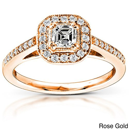 0.58 Carat Halo Cheap Diamond Ring with Princess cut Diamond on 14K Rose gold